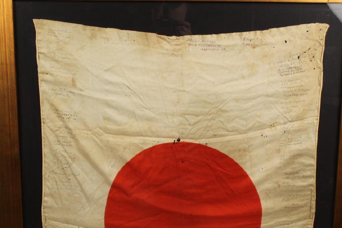 WWII JAPANESE SILK FLAG CAPTURED & SIGNED BY US - 2