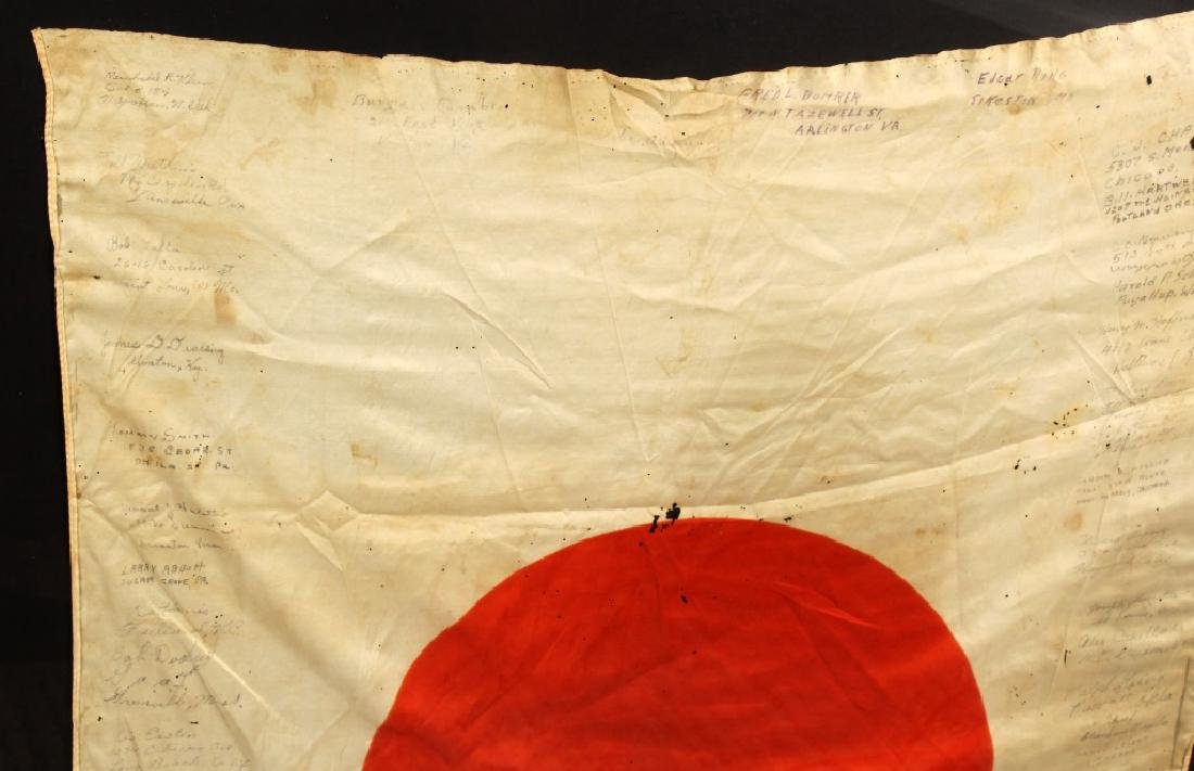 WWII JAPANESE SILK FLAG CAPTURED & SIGNED BY US - 3