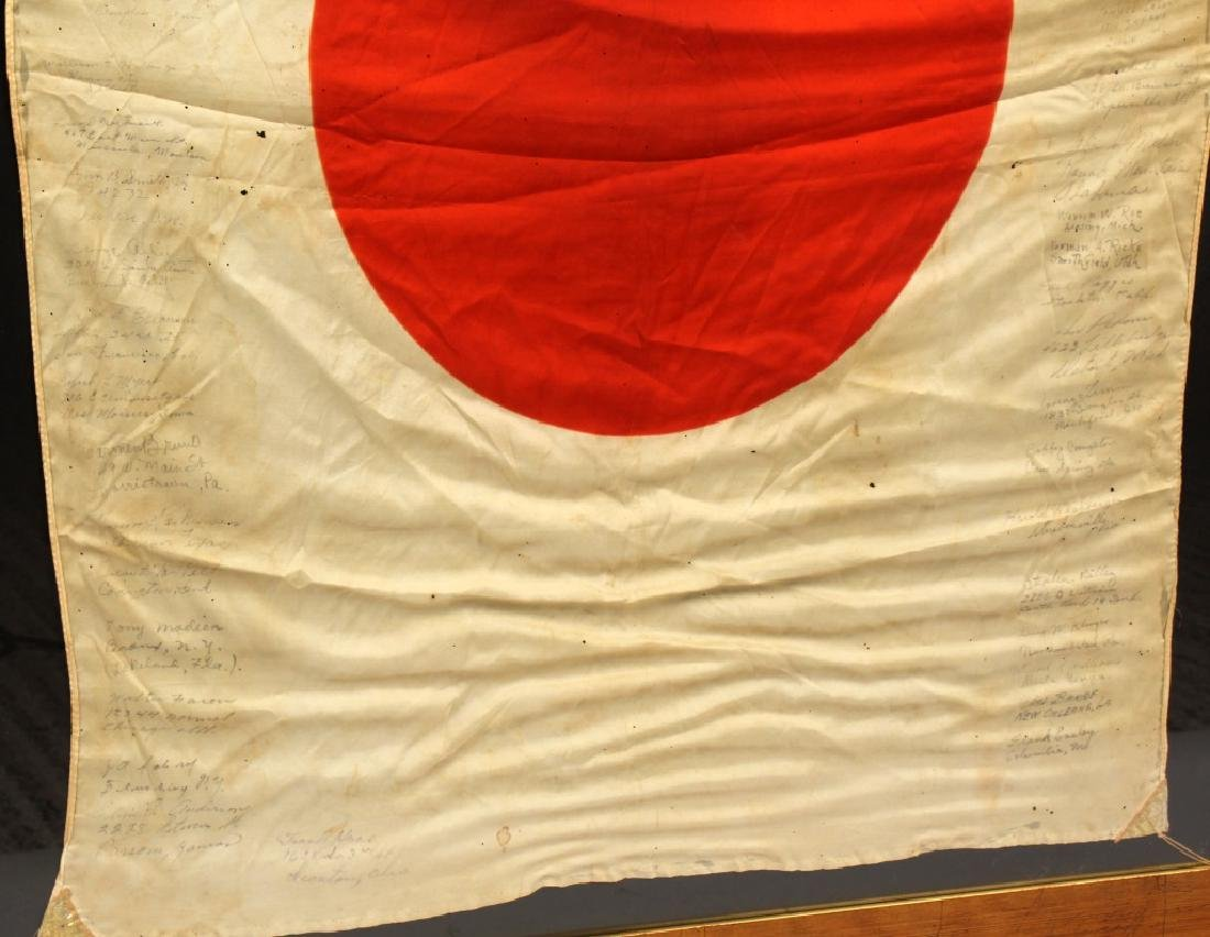 WWII JAPANESE SILK FLAG CAPTURED & SIGNED BY US - 4