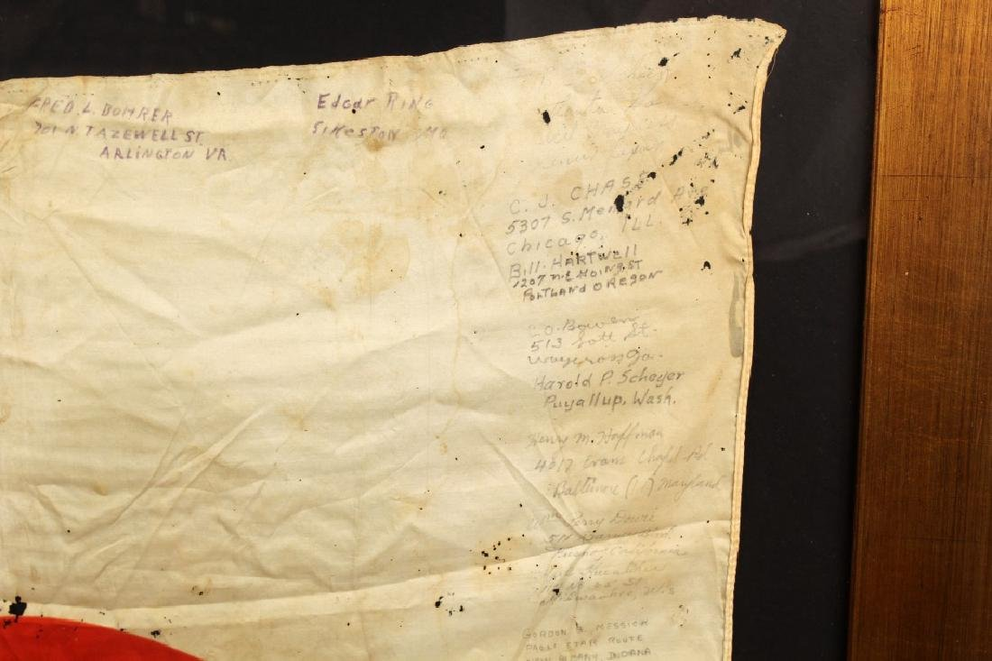 WWII JAPANESE SILK FLAG CAPTURED & SIGNED BY US - 5