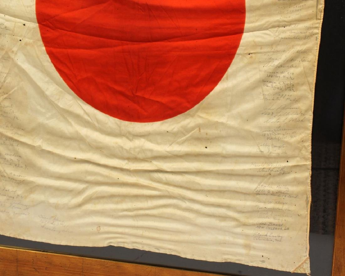 WWII JAPANESE SILK FLAG CAPTURED & SIGNED BY US - 6