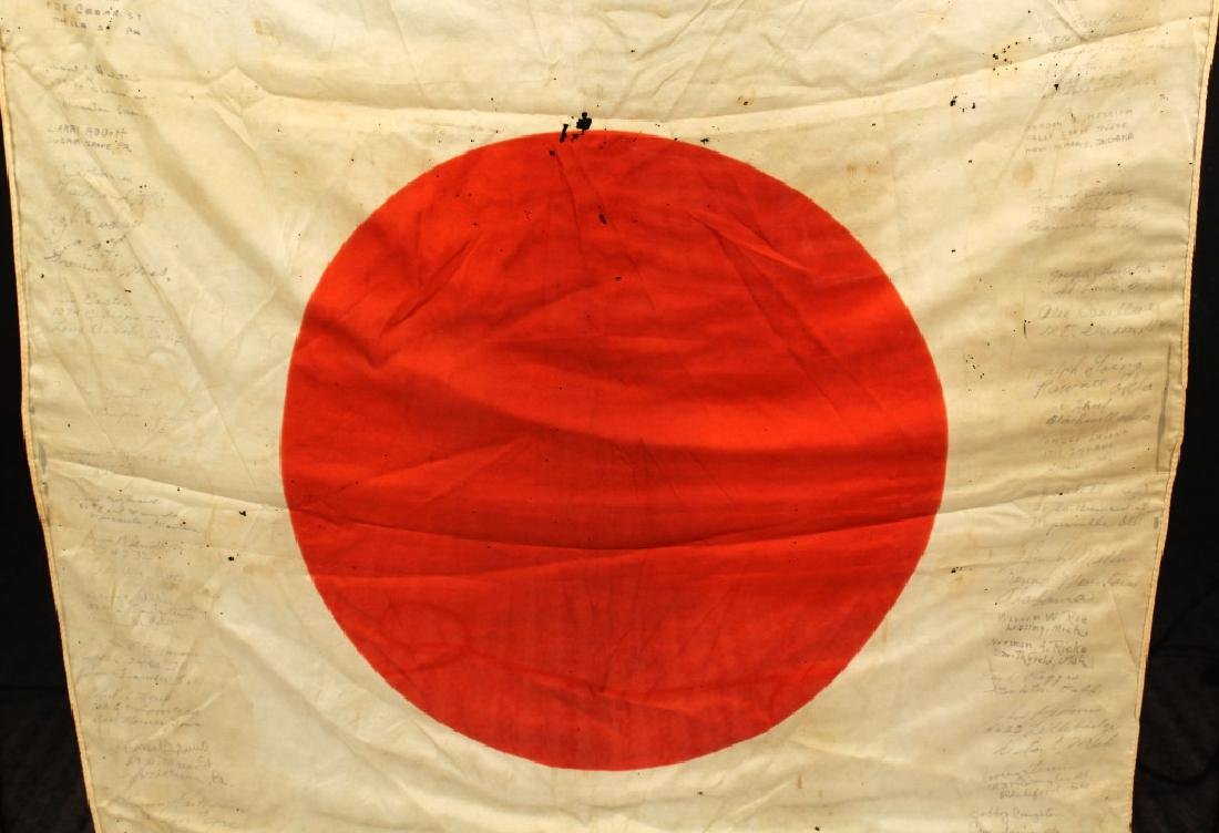 WWII JAPANESE SILK FLAG CAPTURED & SIGNED BY US - 7