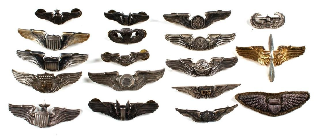 WWII US WINGS PIN LOT OF 18