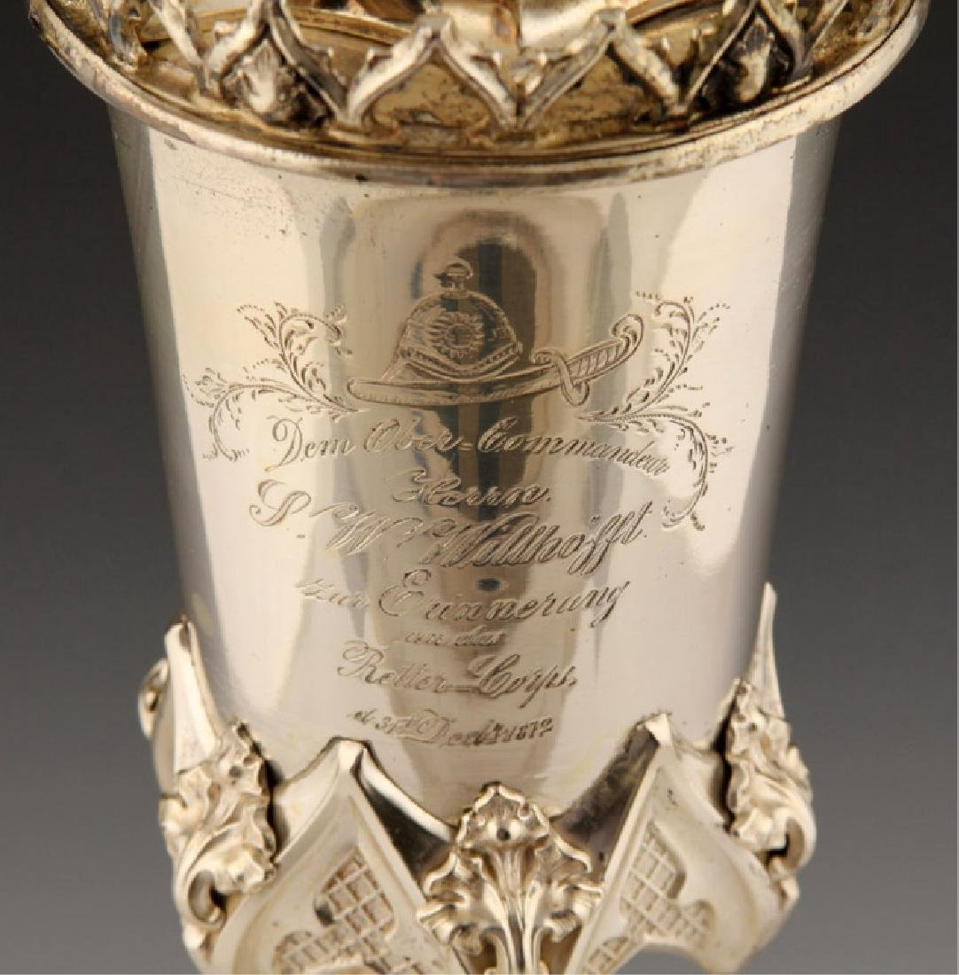 1872 GERMAN FIREMAN SILVER PRESENTATION CUP - 5