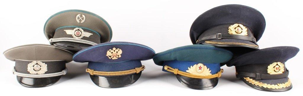 RUSSIAN  AND EAST GERMAN VISOR CAP LOT OF 6