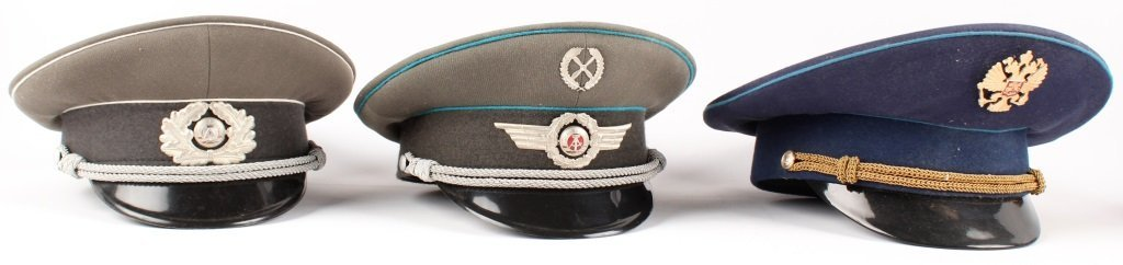 RUSSIAN  AND EAST GERMAN VISOR CAP LOT OF 6 - 2