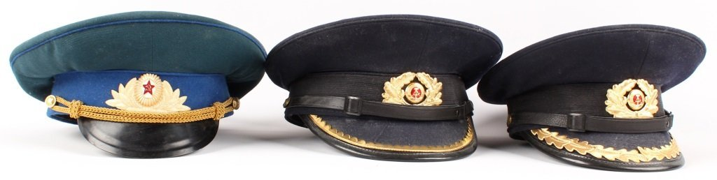 RUSSIAN  AND EAST GERMAN VISOR CAP LOT OF 6 - 5