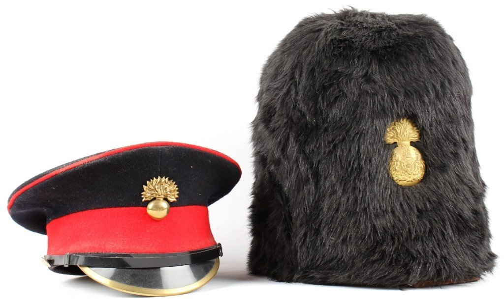 BRITISH ENLISTED GRENADIER CAP LOT OF 2