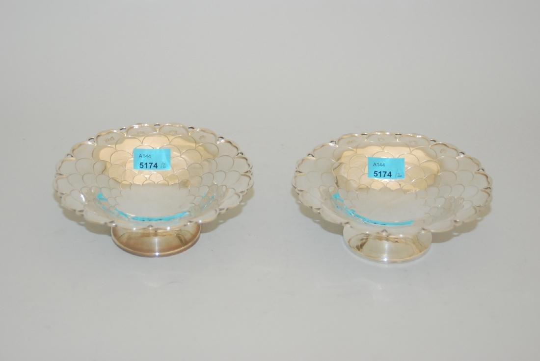 1 Paar kleine Schalen Sheffield, 1957. Silber. Marke