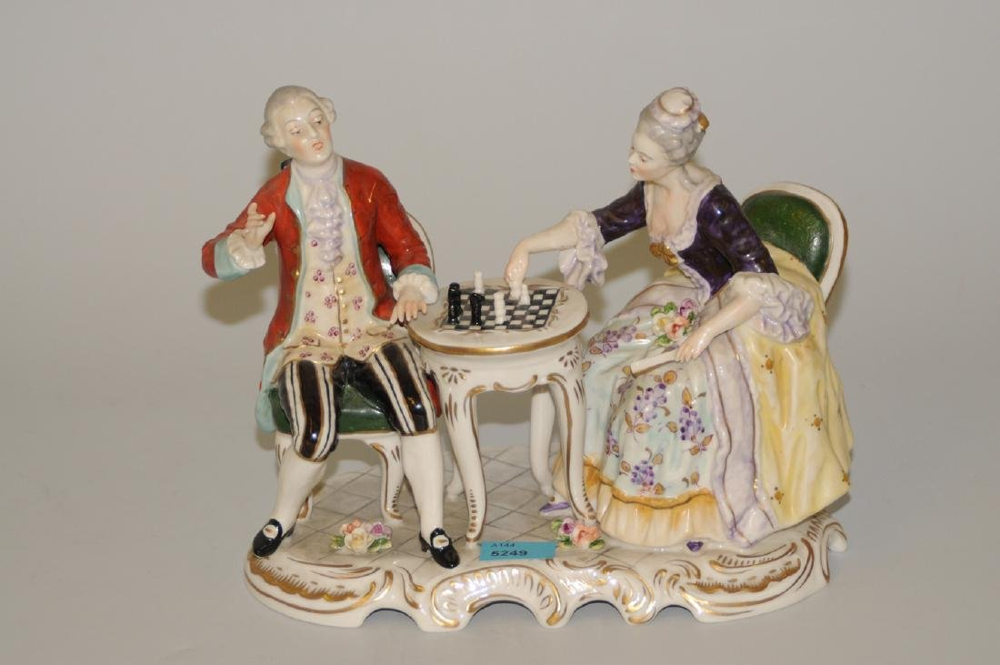 Figurengruppe Thüringen, um 1900. Porzellan, polychrom