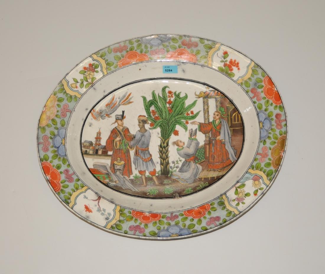 Zierplatte Keramik, polychrom bemalt und mit Gold