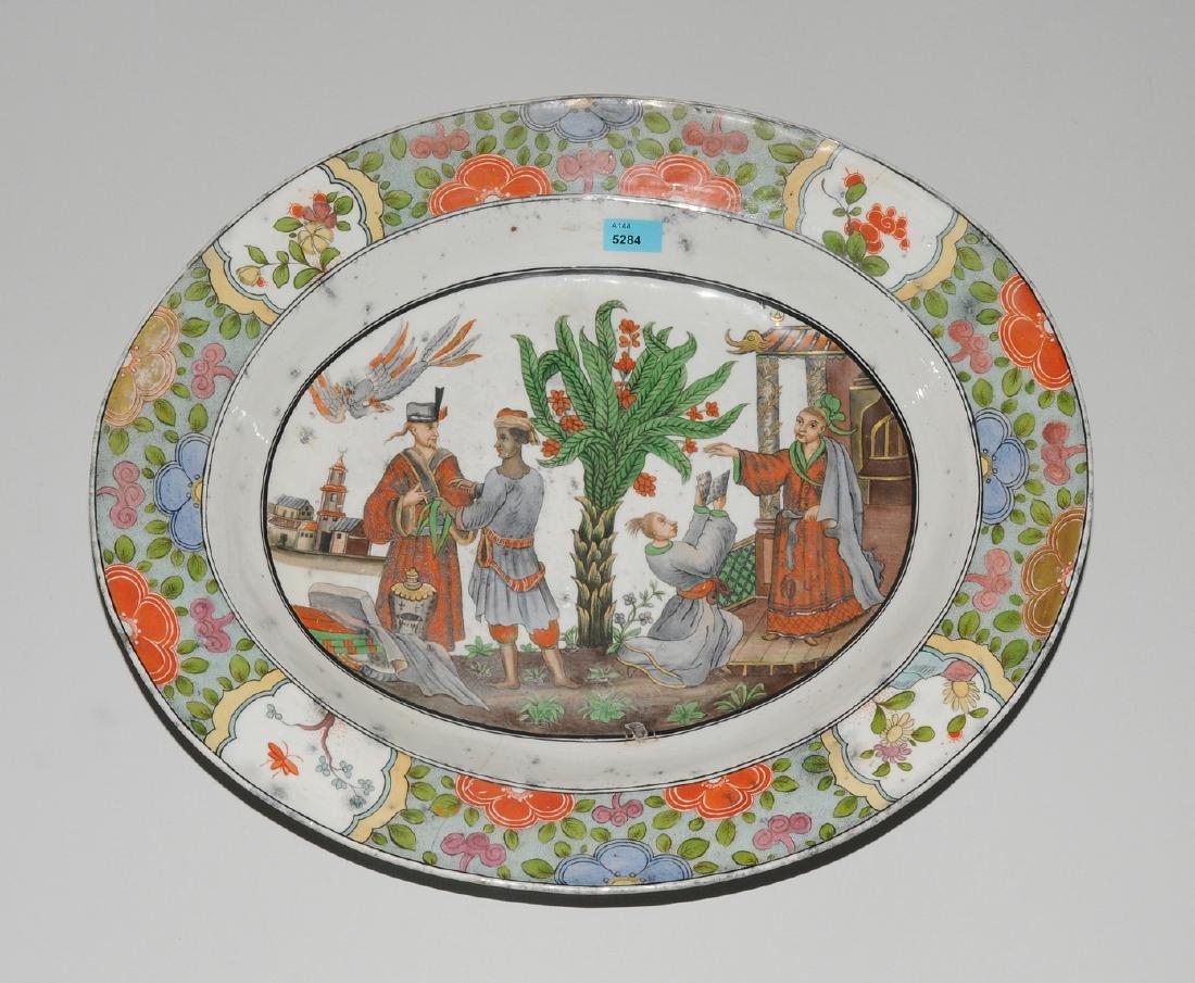 Zierplatte Keramik, polychrom bemalt und mit Gold - 5