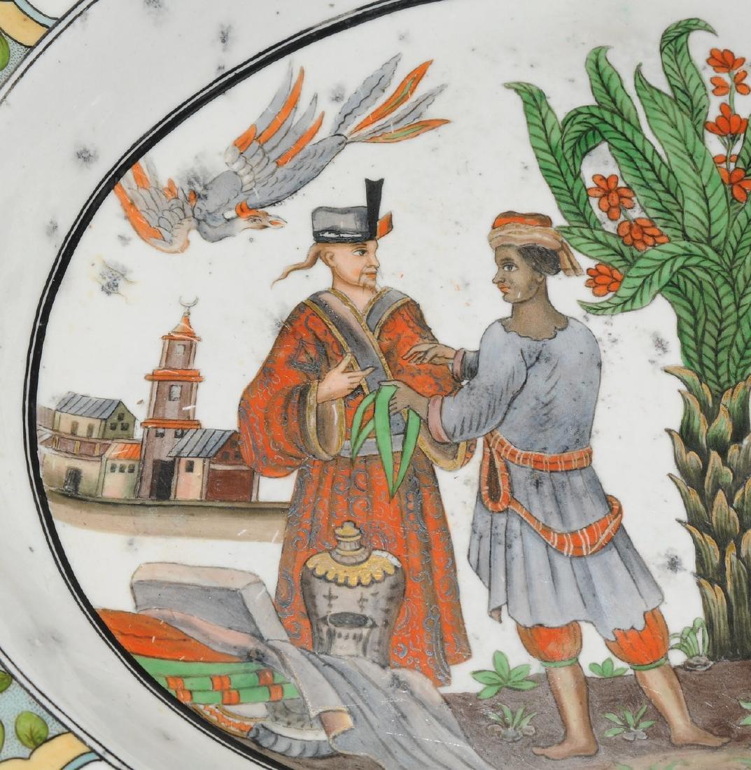 Zierplatte Keramik, polychrom bemalt und mit Gold - 6