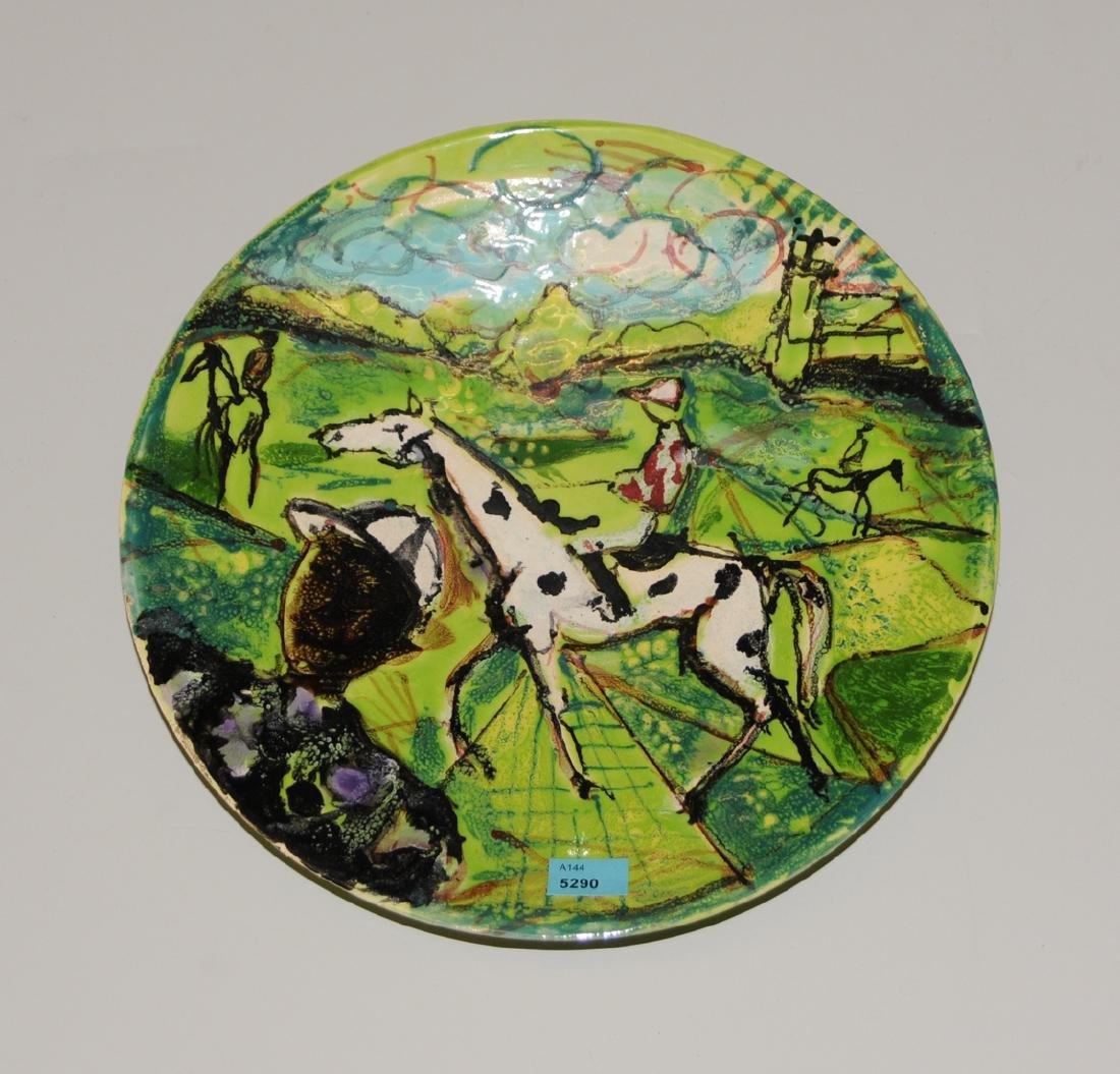 Platte 20.Jh. Keramik, polychrom glasiert. Entwurf von