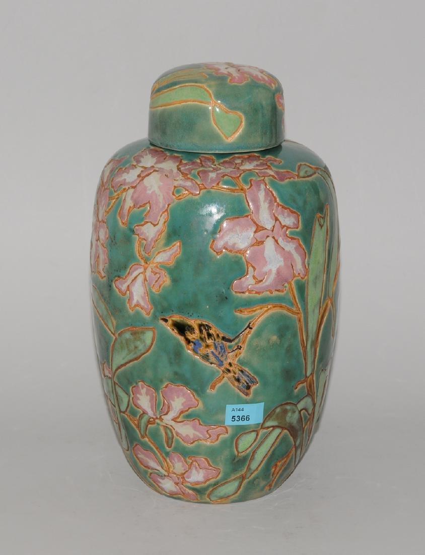 Deckelvase 20.Jh. Keramik, polychrom glasierter und
