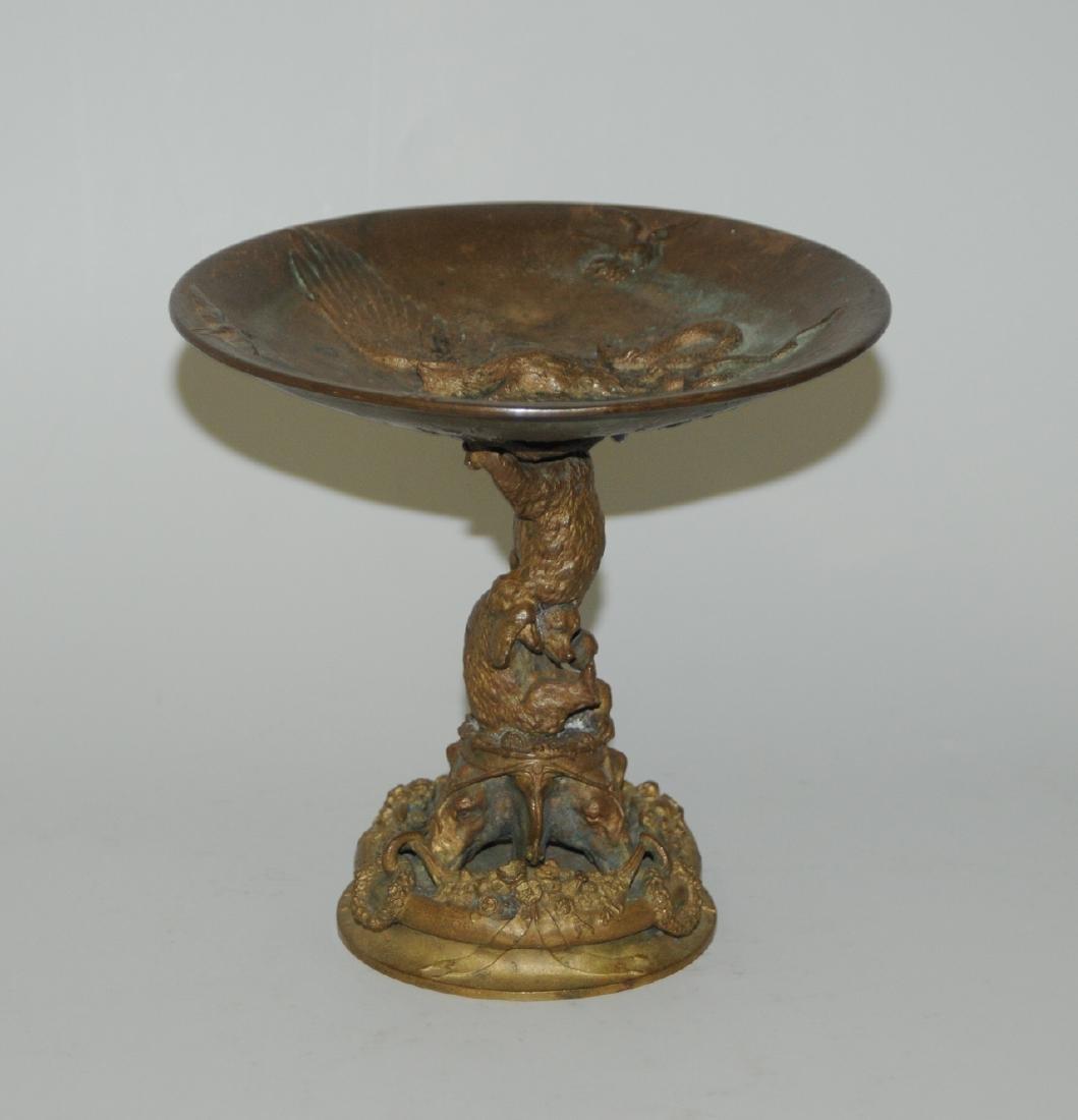 Fussschale Um/Nach 1900. Bronze, patiniert. 2 Bären und