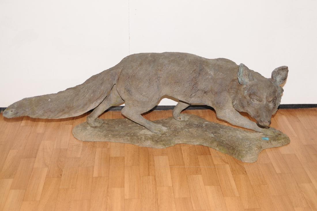 Gartenfigur 20.Jh. Bronze, patiniert. Fuchs. L 110 cm.