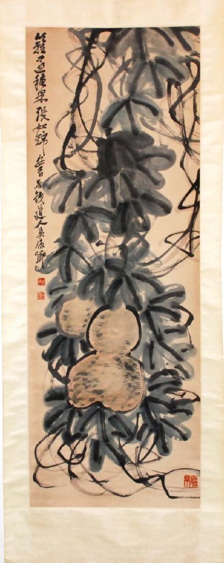 Rollbild  Nach Wu Changshuo (1844–1927). Tusche und