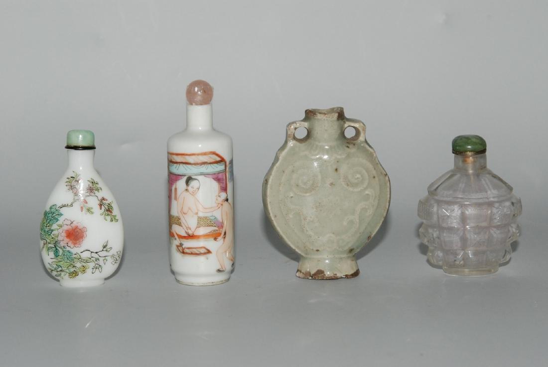 Lot: 4 Snuffbottles China, 20.Jh. Porzellanfläschchen