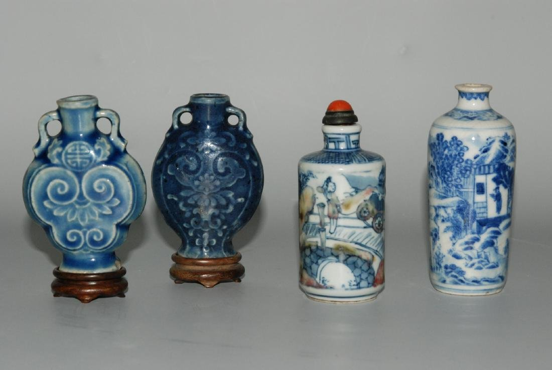 Lot: 4 Snuffbottles China. Porzellan. Zwei