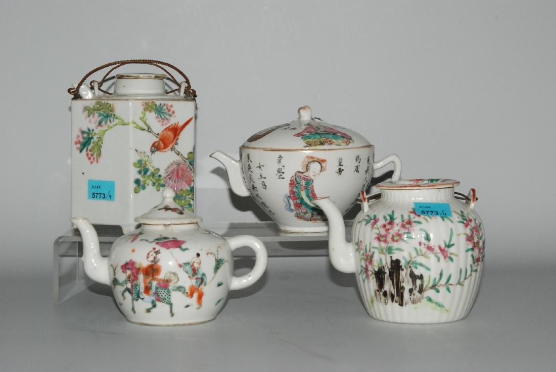 Lot: 4 Teekannen China, spätes 19.Jh. Porzellan.