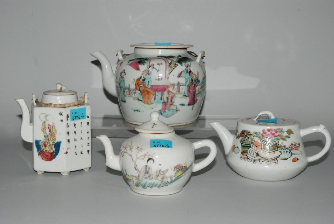 Lot: 4 Teekannen China, späte Qing-Dynastie. Porzellan.
