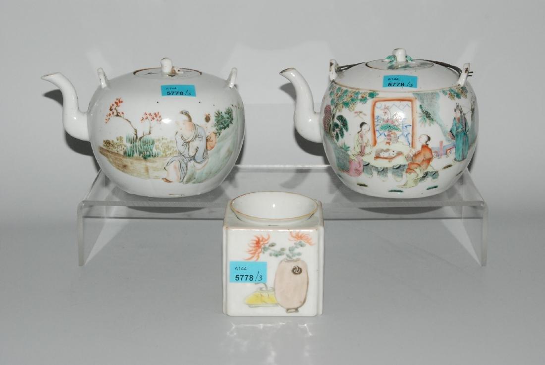 Lot: 2 Teekannen und 1 Wärmebehälter mit Tasse China,