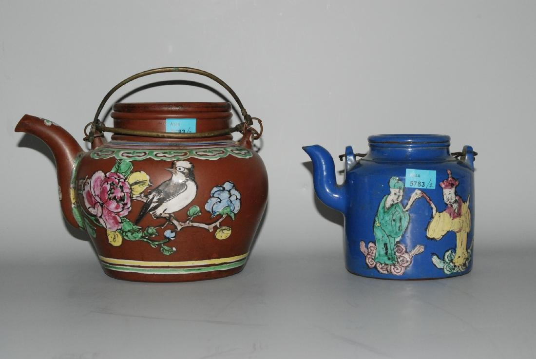 Lot: 2 Teekannen China, um 1900. Yixing-Keramik.