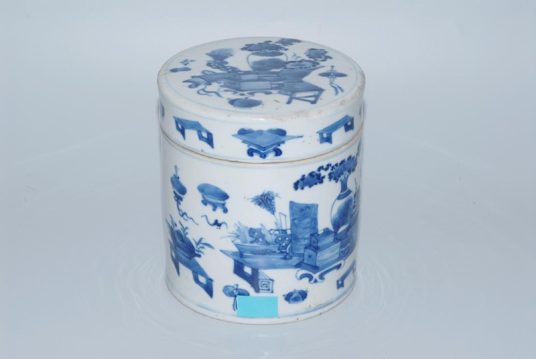 Deckeldose China, 18.Jh. Blau-Weiss Porzellan.