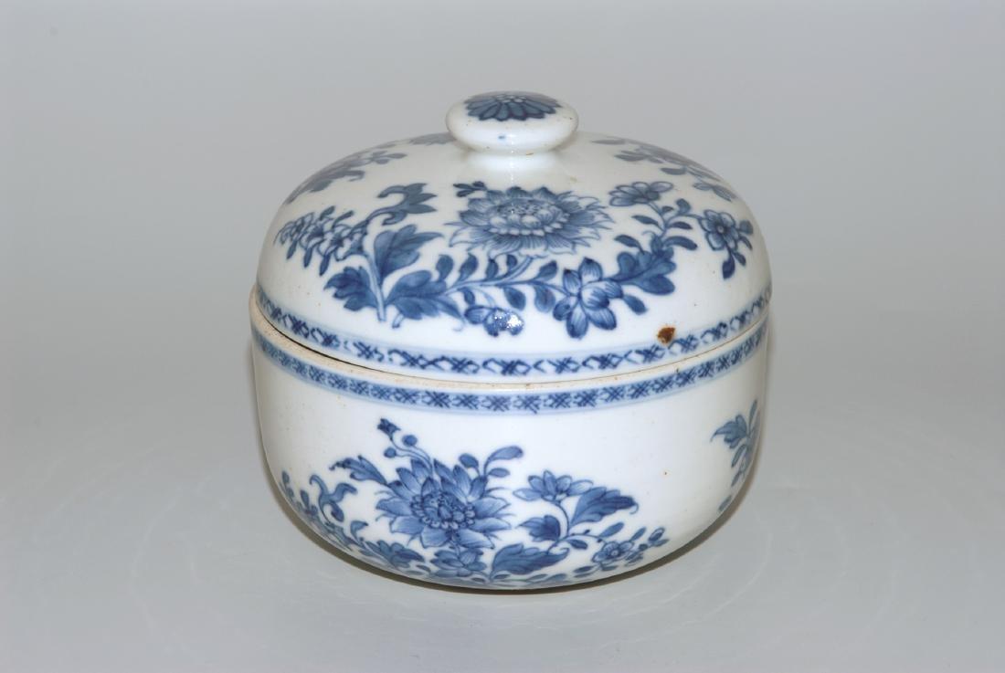 Deckelschale China, 18.Jh. Blau-Weiss Porzellan. Schale