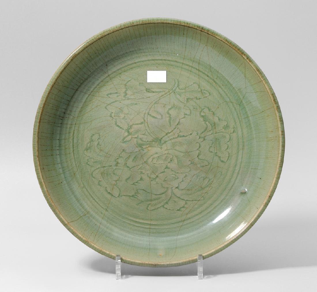 Platte China, wohl Ming-Zeit. Longquan. Celadon,