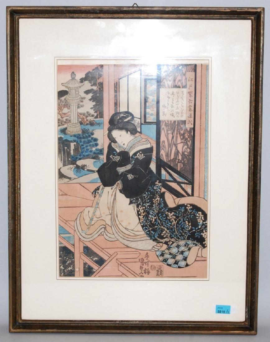 2 Holzschnitte Japan. Farbholzschnitt. Utagawa Kunisada