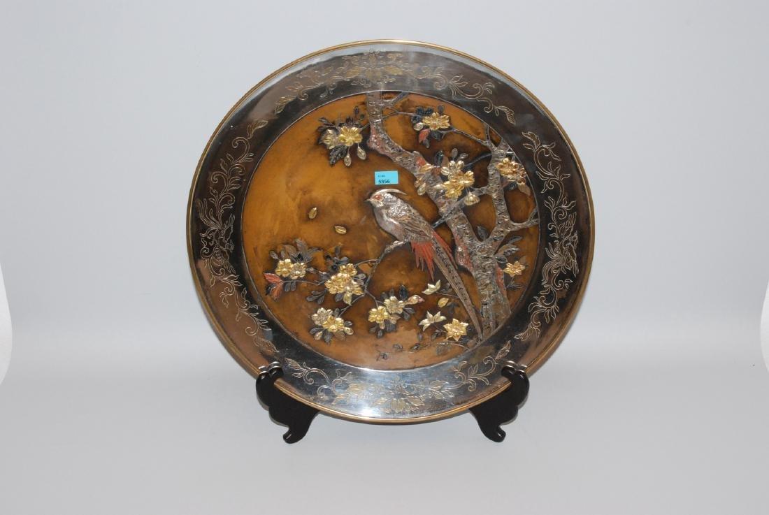 Grosse Zierplatte Japan, 1.Hälfte 20.Jh. Bronze.