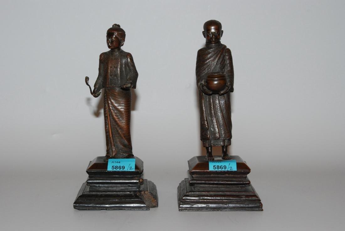 1 Paar Figuren Burma, 2.Hälfte 20.Jh. Bronze. Mönch mit