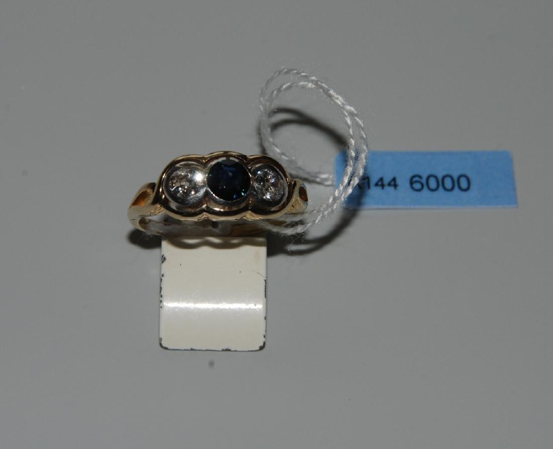 Saphir-Diamant-Ring Anfang 20.Jh. 750 Gelbgold/Platin.