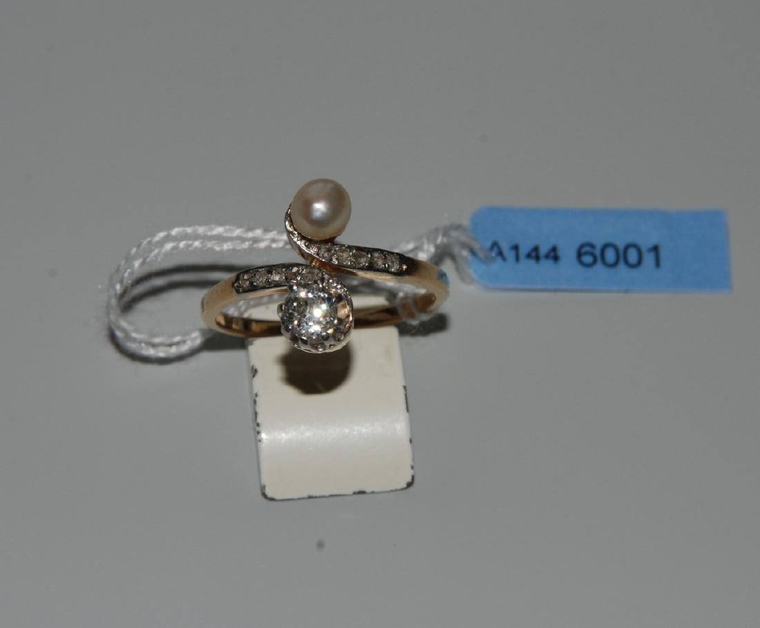 Perlen-Diamant-Ring Um 1910. 750 Gelbgold/Platin. 1