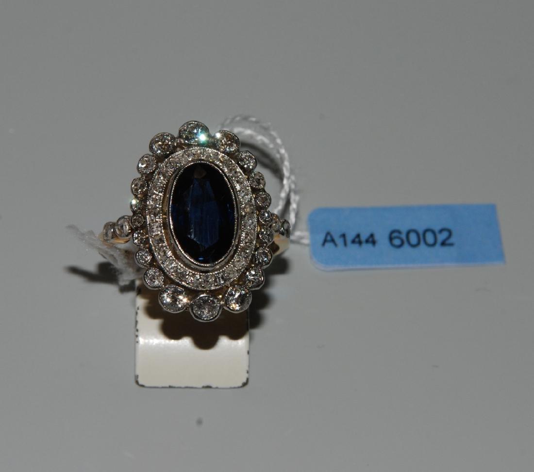 Saphir-Diamant-Ring Anfang 20.Jh. 850 Platin/750
