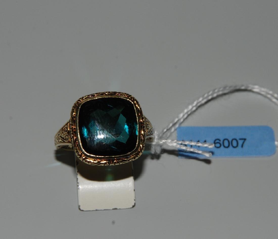 Turmalin-Ring 1920er Jahre. 585 Gelbgold. 1