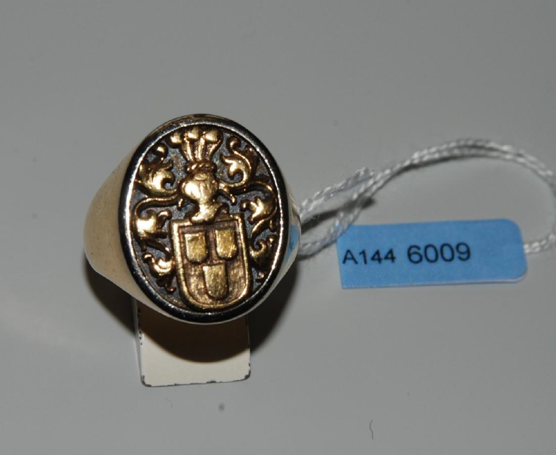 Wappenring 750 Gelb-/Weissgold. Gr. 63, 26 g.