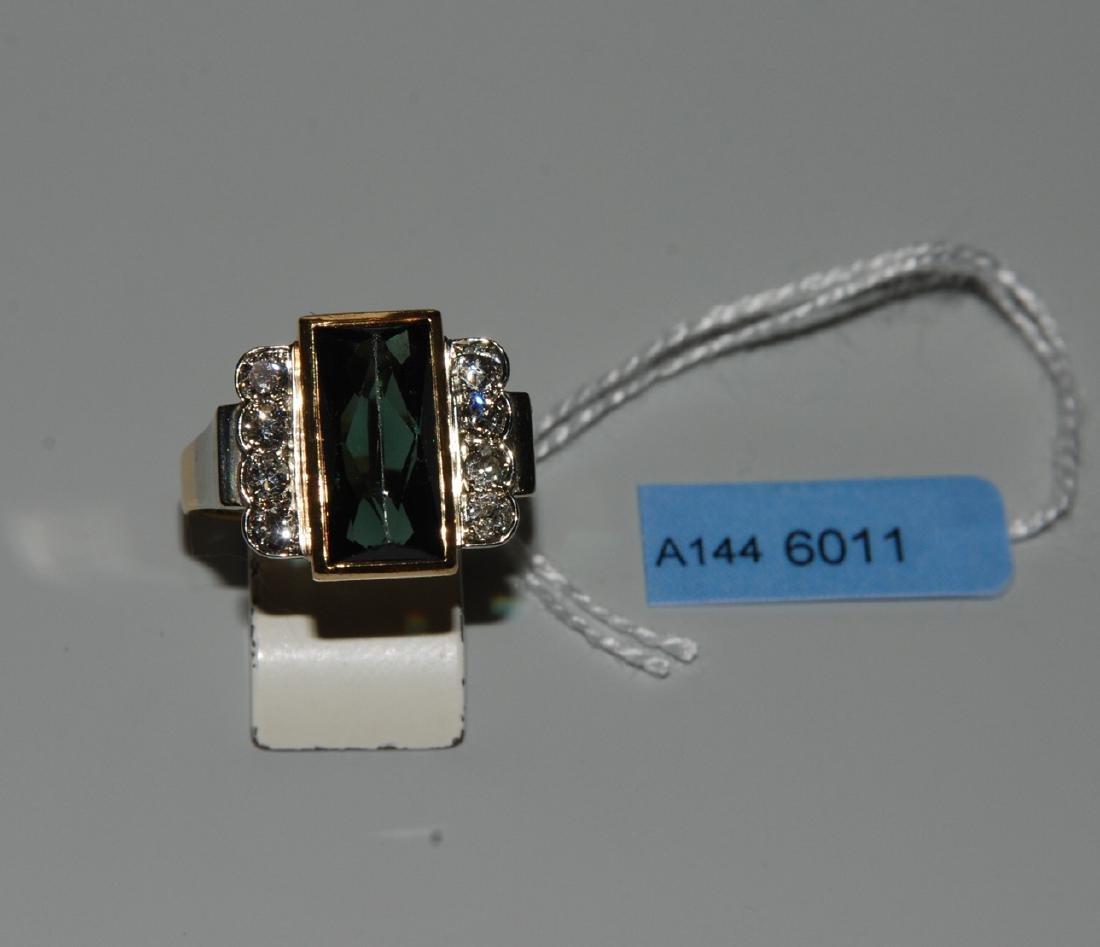 Turmalin-Diamant-Ring 750 Gelb-/Weissgold. 1