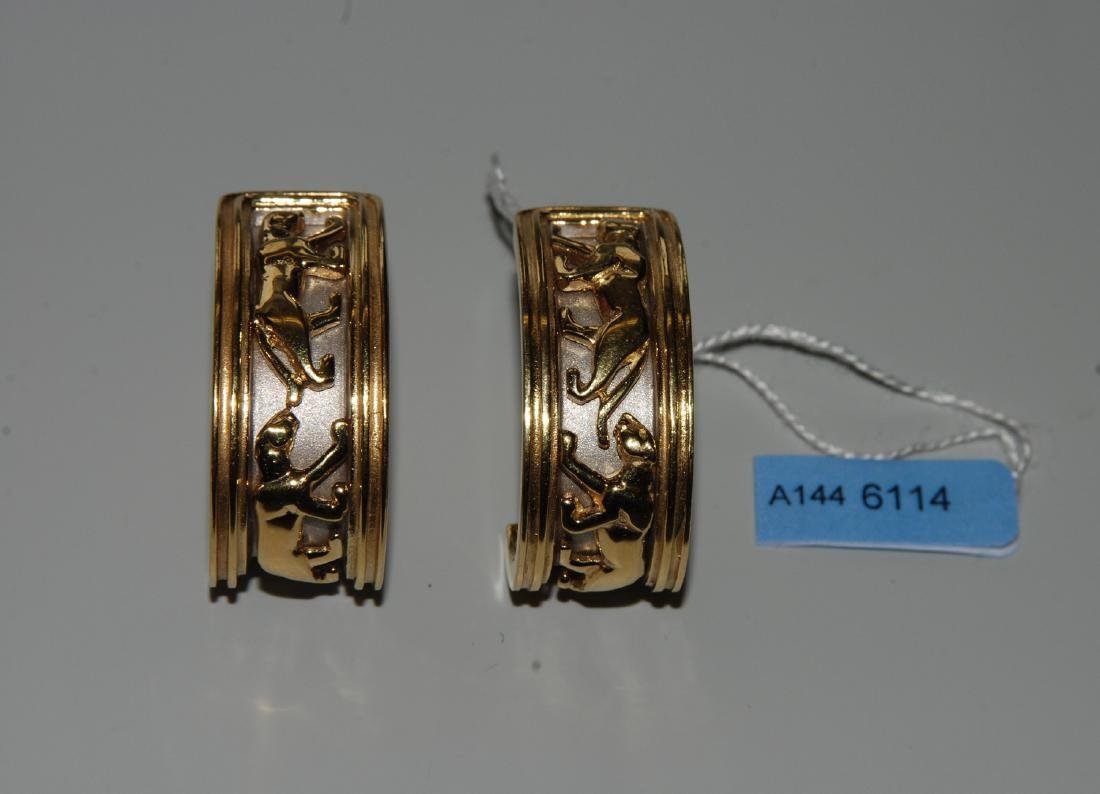 Gold-Ohrclips 750 Gelbgold tlw. rhodiniert.