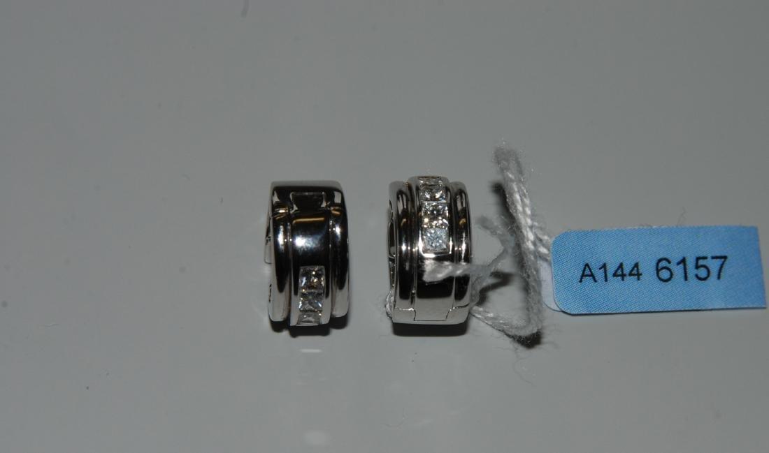 Diamant-Créolen 750 Weissgold. 8 Princess-Diamanten