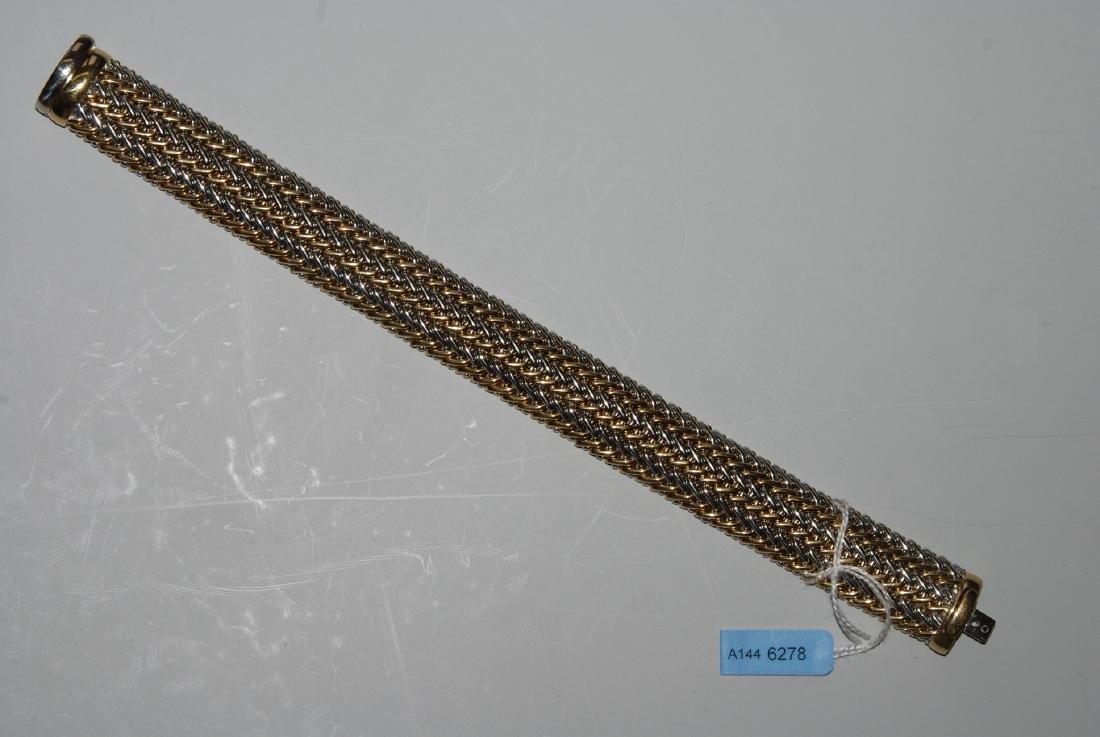 Bicolor-Bracelet Italien. Gelb- und Weissgold.