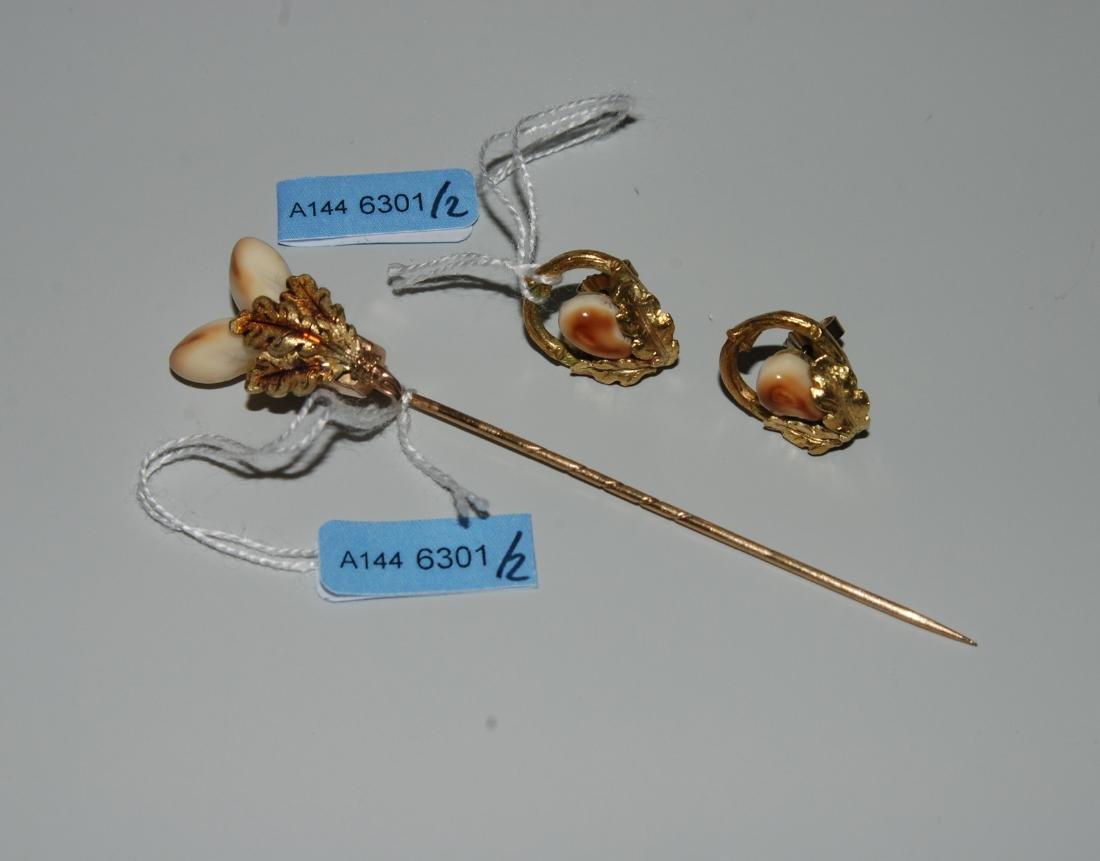 Grandel-Set 585/750 Gelbgold. Krawattennadel und