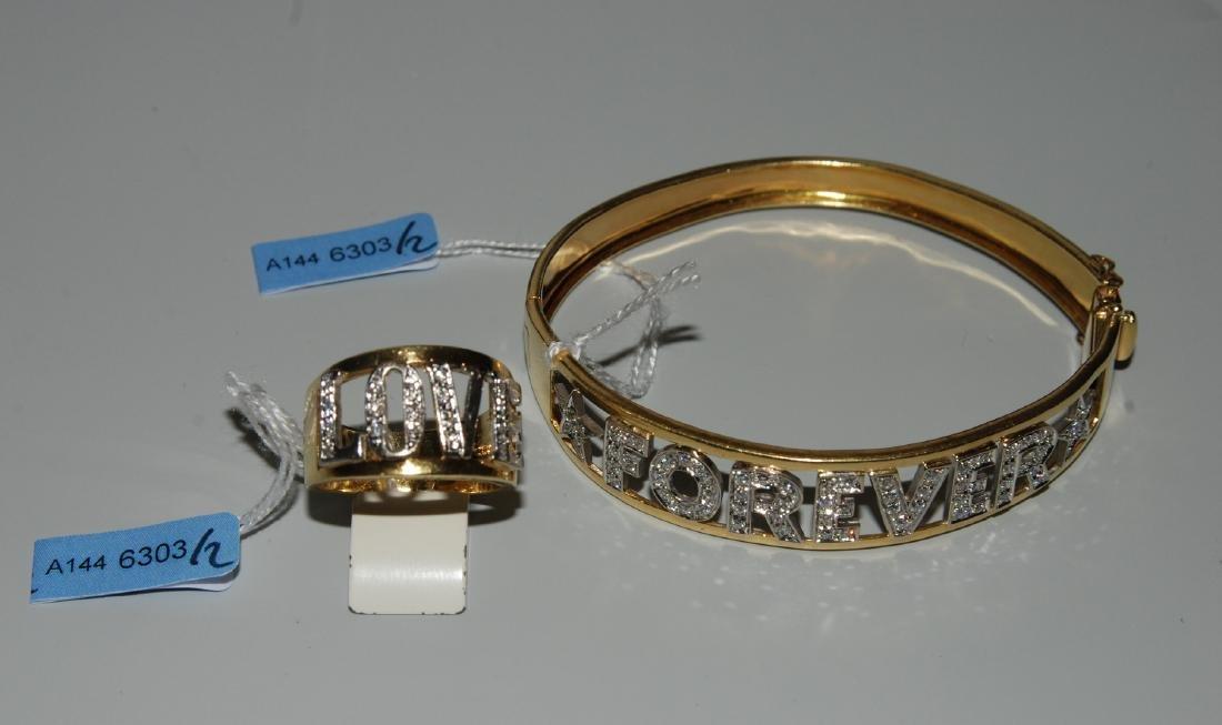 Set: Brillant Armreif und Ring 750 Gelb-/Weissgold. Im
