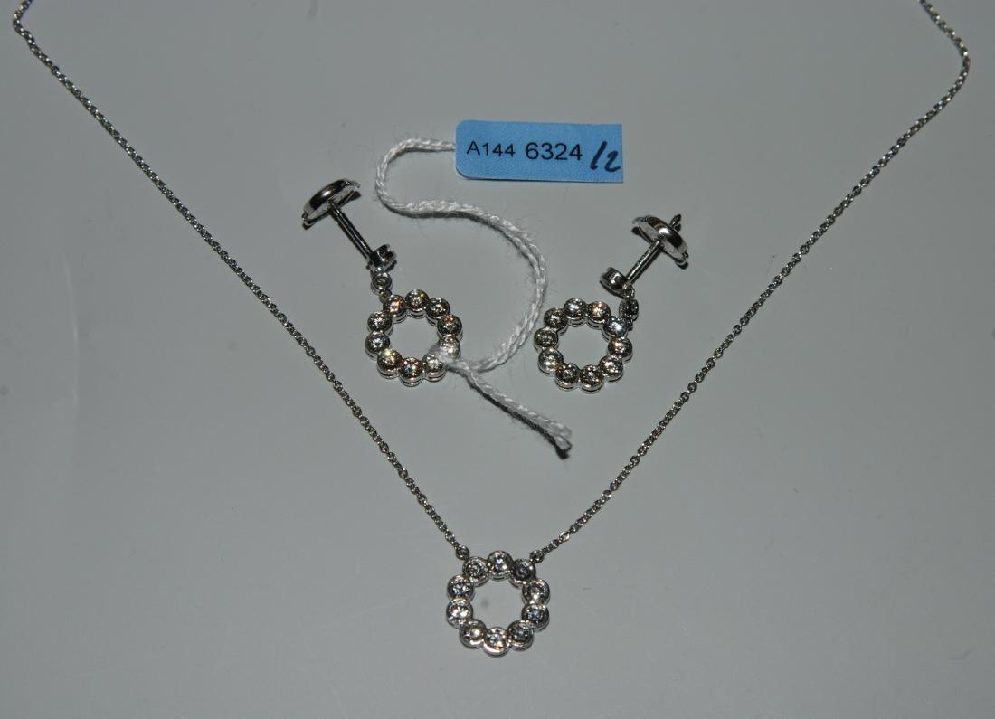 Set: Tiffany Brillant-Ohrhänger und Collier Signiert: