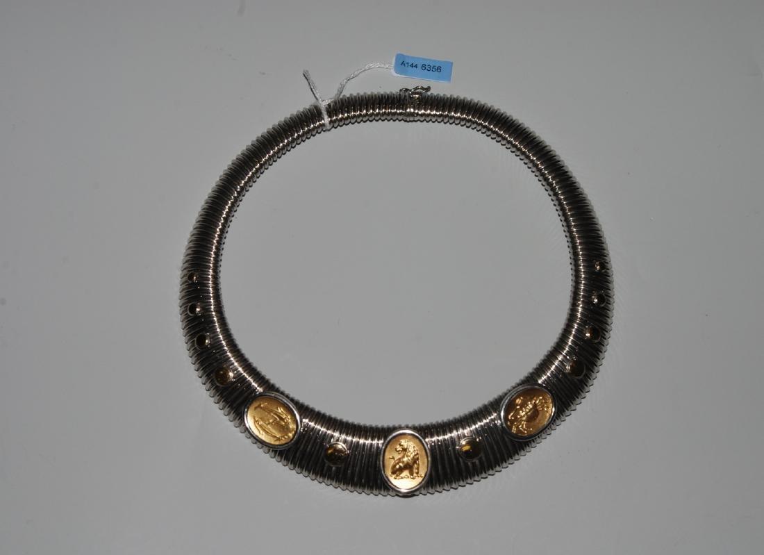 Lalaounis-Halsreif 925 Silber/750 Gelbgold. Schlaufform