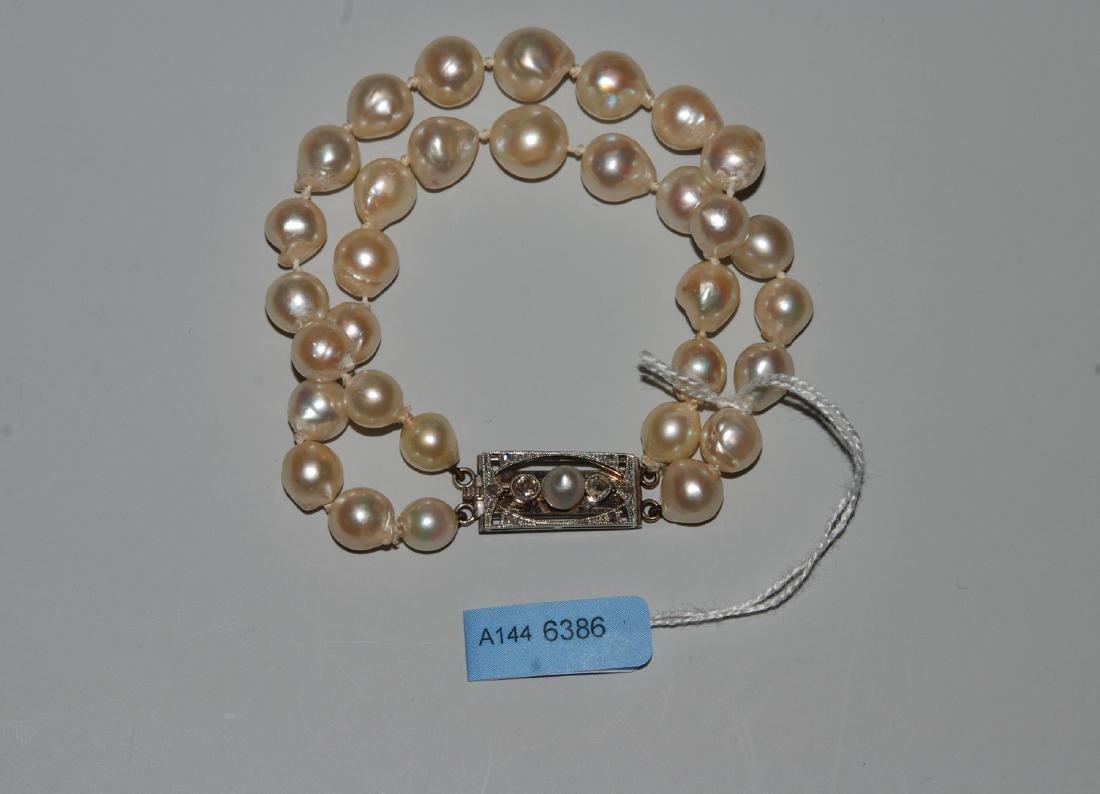 Perlen-Bracelet Art Déco. 750 Weissgold. 2 Reihig,