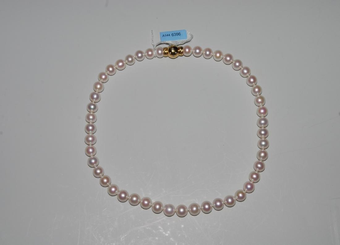 Perlen-Collier 750 Gelbgold. Weisse