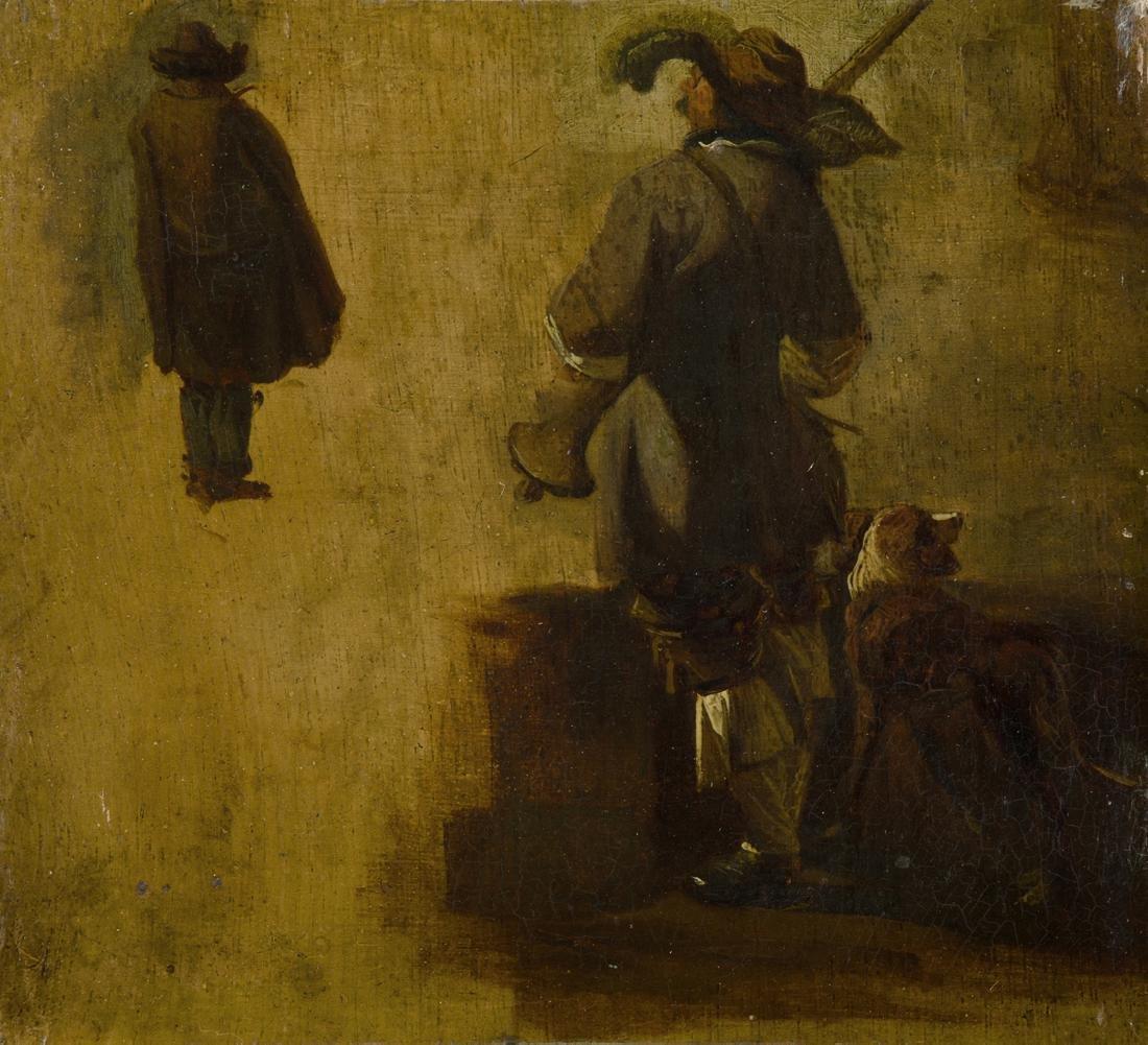 Anonym, um 1800 Musketier mit Hund. Ölstudie auf Holz.